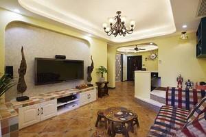 精致地中海风格时尚混搭两室两厅室内装修效果图