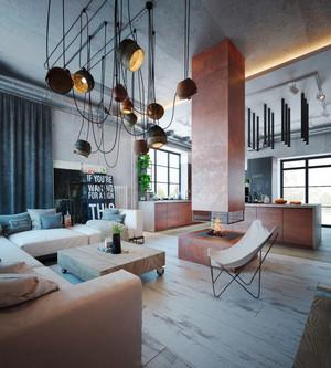 现代工业风格复式楼室内装修效果图赏析