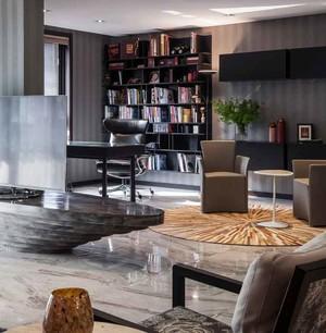 90平米后现代风格中性冷色室内装修效果图