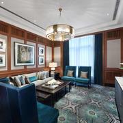 现代中式风格三居室客厅沙发背景墙装修效果图