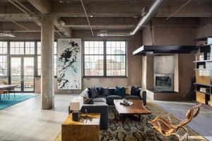 现代工业loft风格两室两厅一卫室内装修效果图