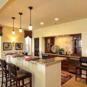 复古美式风格别墅开放式厨房吧台装修效果图