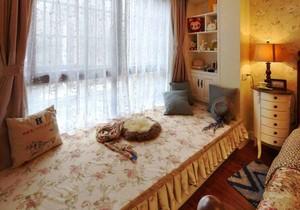 欧式田园风格飘窗窗帘设计装修效果图