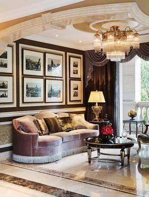欧式风格三居室客厅照片墙装修效果图鉴赏