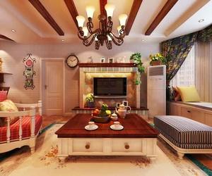 清新舒适欧式田园风格三室两厅室内装修效果图
