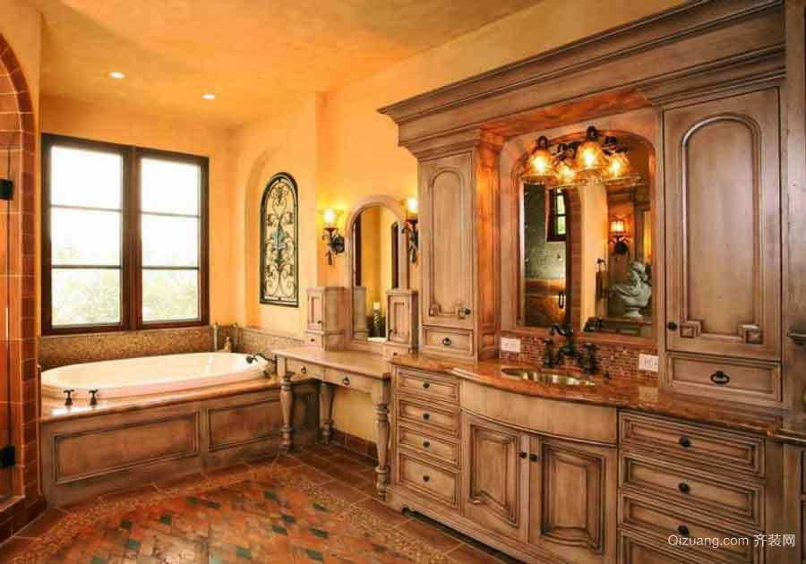 古典欧式风格别墅室内卫生间浴室柜装修效果图