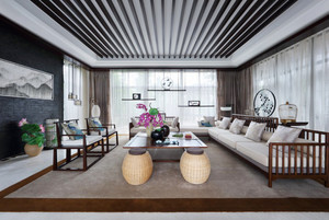 新中式风格三室两厅室内装修效果图鉴赏