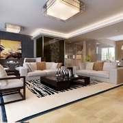 新中式风格三居室客厅吸顶灯装修效果图