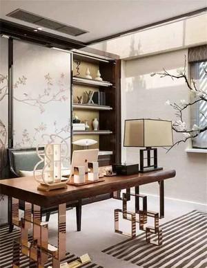 20平米中式风格书房博古架装修效果图