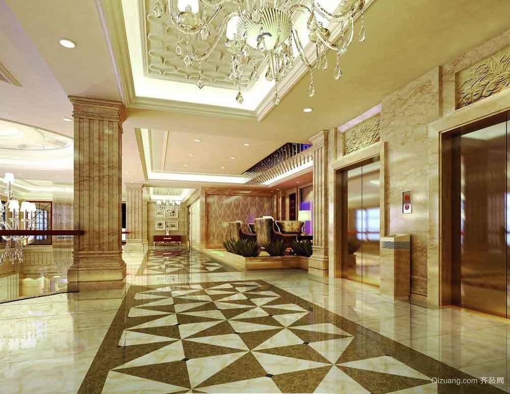 300平米欧式风格酒店过道设计装修效果图