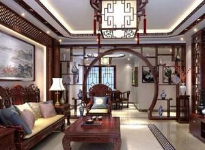 中式风格两居室室内客厅博古架装修效果图