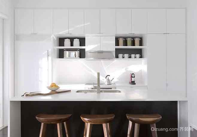 现代简约风格开放式厨房吧台设计装修效果图大全赏析