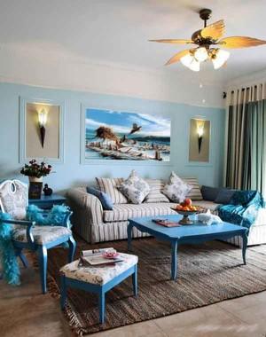 蓝色主题地中海风格客厅装修效果图