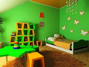 现代简约风格动感绿色儿童房装修效果图