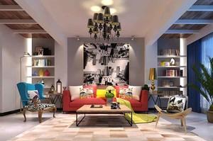 142平米时尚混搭风格三室两厅室内装修效果图