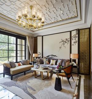 现代中式风格三居室客厅吊顶装修效果图赏析
