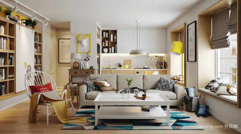 47平米北欧风格小户型客厅飘窗装修效果图