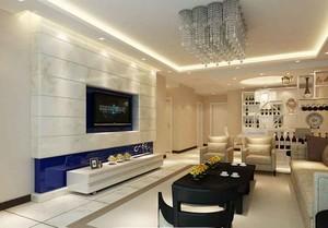 现代简约风格三居室客厅吸顶灯装修效果图