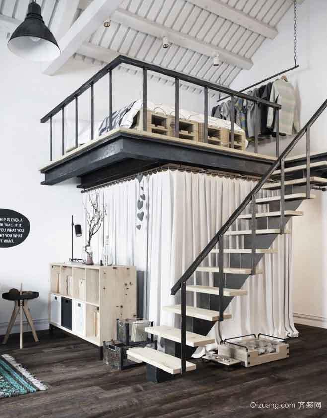 40平米现代风格loft室内装修效果图