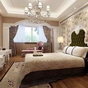 欧式田园风格两居室卧室背景墙装修效果图