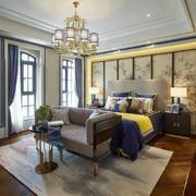 现代中式风格大户型卧室背景墙装修效果图