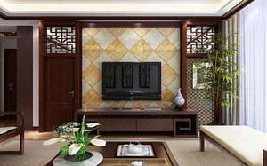 中式风格两居室客厅电视背景墙装修效果图