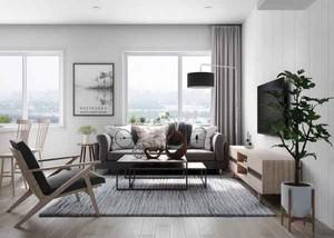 60平米灰色主调现代简约风格小户型室内装修效果图