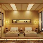 日式简约风格宾馆客房设计装修效果图