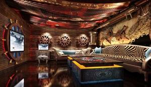 复古风格海盗船主题KTV包房设计装修效果图