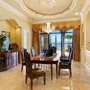美式风格别墅室内餐厅窗帘装修效果图