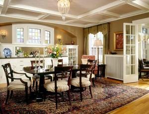 古典欧式风格别墅室内客厅与餐厅隔断装修效果图