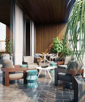 新中式风格别墅阳台花园装修效果图