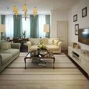 简约新中式风格客厅窗帘设计装修效果图
