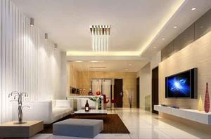 现代简约风格大户型客厅吸顶灯装修效果图