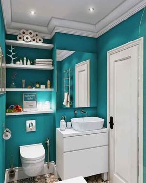 现代简约风格浅蓝色卫生间装修效果图赏析