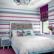 现代简约风格清新女生卧室背景墙效果图