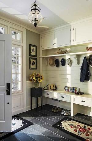 现代美式风格大户型进门玄关鞋柜设计装修效果图