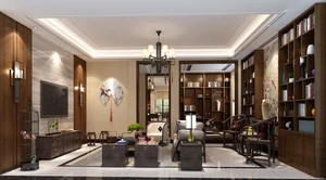 85平米中式风格一居室室内装修效果图