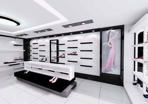 72平米现代简约风格鞋店展柜装修效果图