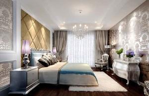 简欧风格主卧室窗帘设计装修效果图