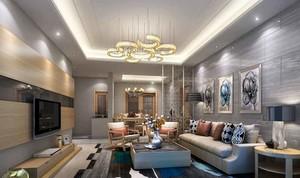 后现代风格大户型室内客厅吊灯设计装修效果图