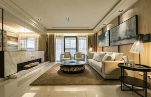 后现代风格大户型室内客厅电视背景墙装修效果图
