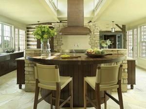 美式乡村风格别墅厨房餐厅隔断设计装修效果图