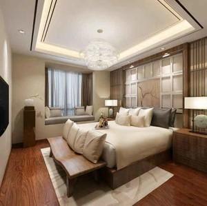 新中式风格大户型主卧室背景墙装修效果图赏析