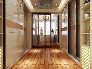 现代风格三居室卧室推拉门设计装修效果图