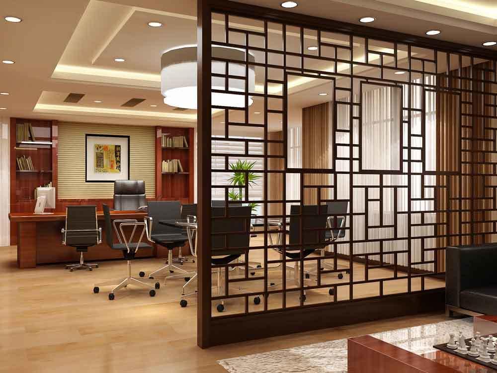 中式风格老总办公室隔断设计装修效果图