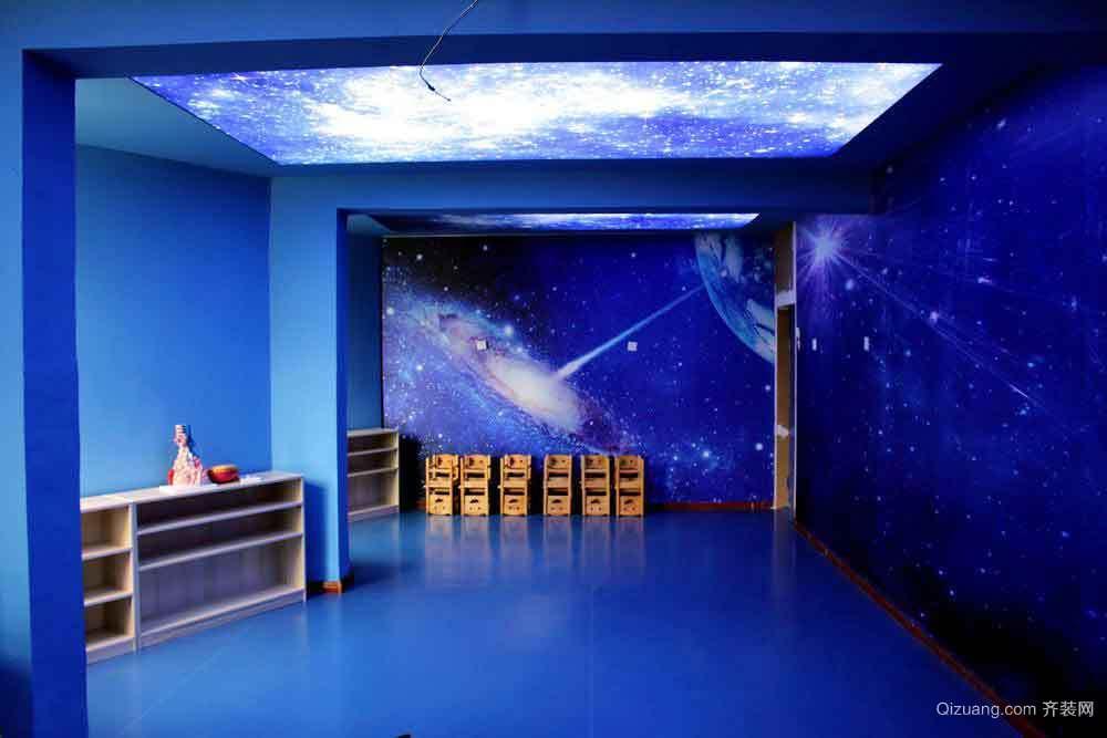 现代风格星空主题幼儿园手绘墙装修效果图赏析