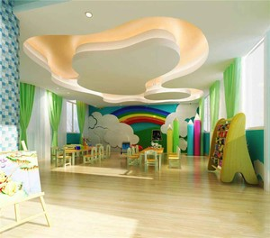 90平米现代风格幼儿园墙面设计装修效果图