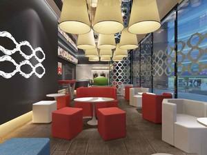 现代简约风格几何咖啡厅沙发装修效果图