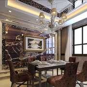 奢华欧式风格别墅室内餐厅背景墙装修效果图